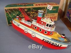 Vintage Marusan Toys Battery Operated Fire Boat New In Original Box