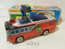 VINTAGE TIN TOY TAIWAN CHINESE TELEVISION SERVICE BATTERY OPERATED CHINA BUS BOX