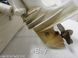 VINTAGE TOY MODEL WOODEN BOAT WITH TWIN BATTERY OPERATED MERCURY OUTBOARD MOTORS