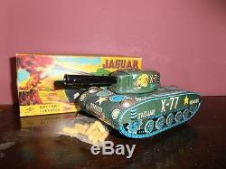 Vintage & Very Rare Jaguar X-77 Tank Japan Tin Toy Battery Operated Daiya Nib