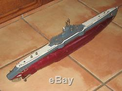 Vintage 1950 ITO Japan Large Battery Operated Wood Submarine Boat, 27 LONG
