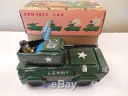 Vintage 1950s K Co. US Navy Armored Car Battery Operated Tin Toy Mint in Box