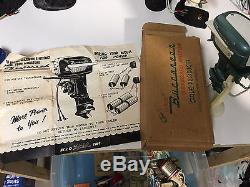 Vintage 1957 Gale outboard toy boat motor japan original box, papers, stand