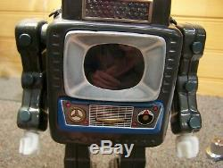 Vintage 1961 Battery Operated Tin Television Spaceman Toy Orig Box Great Cond
