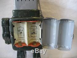 Vintage Alps Japan TELEVISION SPACE MAN battery operated tin toy robot tv RARE