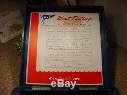 Vintage Battery Operated K&O Fleetline Toy Outboard Motor Display Wood Ass. Box