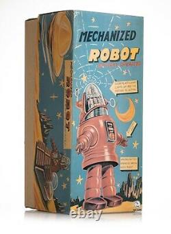 Vintage Battery Operated Robbie Robot Silver with Box by Osaka Tin Toy Institute