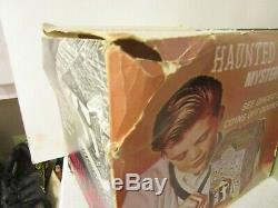 Vintage Haunted House Battery Operated Mystery Bank Tin Litho Toy With Box