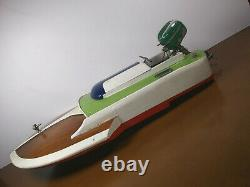 Vintage ITO Japan Wood Speed Boat With Working Metal Outboard Motor