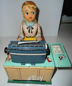 Vintage Japan Linemar 1950s Busy Secretary Battery Operated Tin Toy Works withbox
