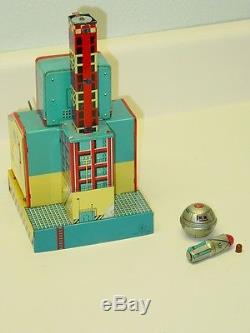 Vintage Japan Tin Cragstan Rocket Launching Pad Toy In Box, Battery Operated