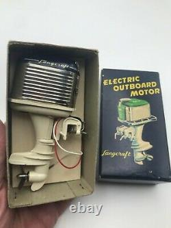 Vintage Langcraft Toy Outboard Motor Mercury Style Blue withbox & insert