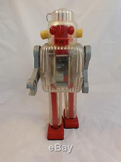 Vintage Mechanical Battery Operated Tin Robot Sairen Japan Atomic Age RARE