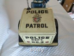 Vintage NOMURA Tin Police Patrol Battery Operated Auto-Tricycle Made in Japan