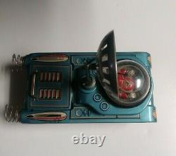 Vintage Rare Toy Battery Operated Space Tank M-18 Litho Tin Toy Japan withOrig Box