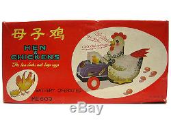 Vintage Red China Hen & Chickens ME603 Battery Operated Tin Toy Mint withBox Works