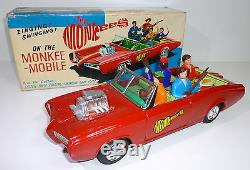 Vintage Tin ASC # 1960's Aoshin MONKEE MOBILE battery operated toy with Box