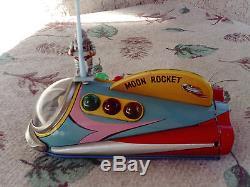 Vintage Tin Toy Moon Rocket Masudaya 1950s Battery Operated, Japan