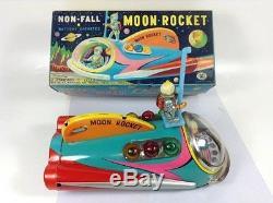 Vintage Tin Toy Moon Rocket Masudaya 1960s Wind-up Battery Operated JAPAN 422