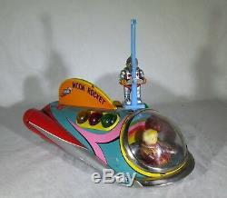 Vintage Working Modern Toys Tm Japan Moon Rocket Battery Op. Tin Litho Toy