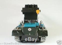 Vintage tin toy army tank M-4033 missile battery operated modern toys japan