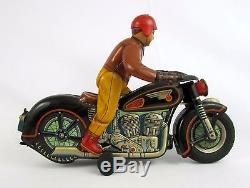 Vtg 50s Battery Operated Tin Litho Atom Motorcycle by Masudaya Modern Toys Japan