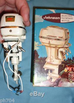 Vtg Johnson Super Seahorse 35 outboard motor for 3 6 volt Model boat JAPAN box