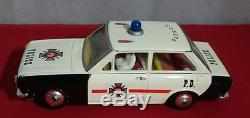 Vtg Tin Litho Battery Operated Police Car by Solpa Original Box
