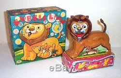 WORKING 1950's BATTERY OPERATED BUBBLE BLOWING LION TIN LITHO CIRCUS TOY JAPAN