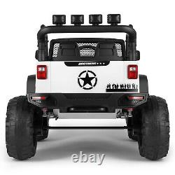 White 12V Battery Kids Ride on Truck Car Electric Jeep Toy LED MP3 withRC Girl Boy
