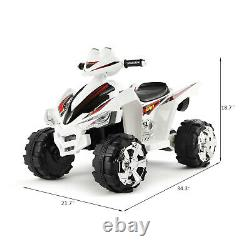 White 12V Electric Kids Ride On Car ATV Toy With/LED Lights Music and Horn