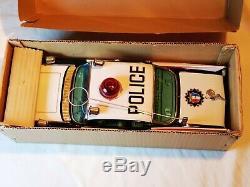 Yonezawa Cadillac Police Car Big Auto Blechspielzeug Tin Toy Japan Boxed